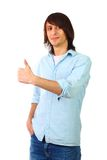 Young male student. Posing on the studio Royalty Free Stock Image