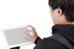 Young male student with blank digital tablet Stock Images