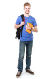 Young male student with books. Portrait of Young male student with books isolated over white background Stock Photography