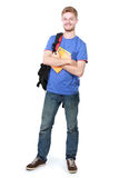 Young male student with books Royalty Free Stock Photos
