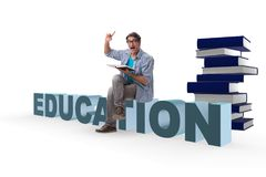 The young male student in education concept isolated on white. Young male student in education concept isolated on white Royalty Free Stock Photography