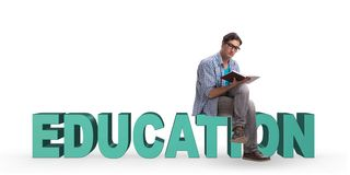 The young male student in education concept isolated on white. Young male student in education concept isolated on white Royalty Free Stock Photo
