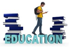 The young male student in education concept isolated on white. Young male student in education concept isolated on white Stock Images