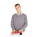 Young male student with file binder Stock Photo