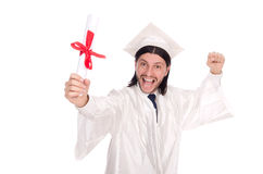 Young male student graduated from high school. On white royalty free stock photos