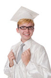 Young male student graduated from high school. On white stock photo