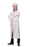 Young male student graduated from high school. On white Royalty Free Stock Photography