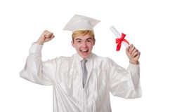 Young male student graduated from high school. On white stock images
