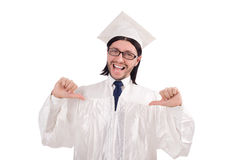 Young male student graduated from high school on Royalty Free Stock Photography