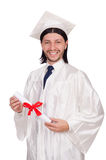 Young male student graduated from high school on. The white Stock Images