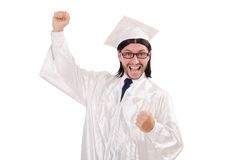 Young male student graduated from high school on. The white Stock Photo