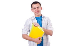 Young male student isolated. On white Stock Photos