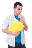 Young male student isolated. On white Stock Photo