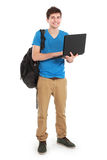 Young male student with laptop. Portrait of Young male student with laptop isolated over white background Stock Photos