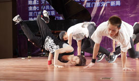 Young male student perform street dance. Male students of nanyang institute show hip-hop dance, amoy city, china Stock Photos