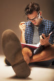 Young male student preparing for exams.self-development,educati Stock Image