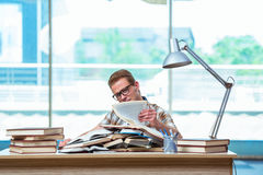 The young male student preparing for high school exams Royalty Free Stock Photography