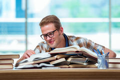 The young male student preparing for high school exams Royalty Free Stock Images