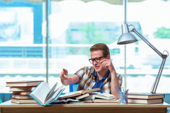The young male student preparing for high school exams Royalty Free Stock Photo