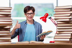 The young male student preparing for high school exams Stock Image