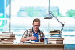 The young male student preparing for high school exams Stock Images