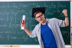 The young male student studying math at school. Young male student studying math at school stock image