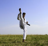 Young male taekwondo fighter attacking Royalty Free Stock Photography