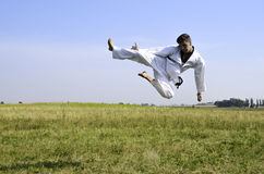 Young male taekwondo fighter attacking Royalty Free Stock Image