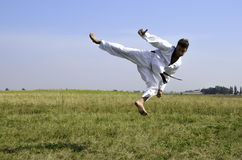 Young male taekwondo fighter attacking Royalty Free Stock Photos
