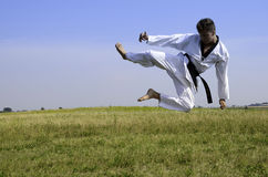 Young male taekwondo fighter attacking Royalty Free Stock Images
