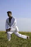 Young male taekwondo fighter stretching Stock Photo