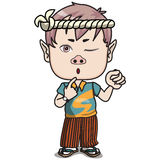 Young Japanese Boy Character - Pursing his lips. Young Male Teen, pursing his lips, closing one eye, standing and holding fist up in the air, wearing japanese Royalty Free Stock Photography