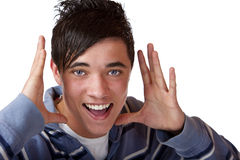 Young male teenager makes announcement royalty free stock images