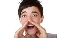 Young male teenager screaming ad announcement Royalty Free Stock Images