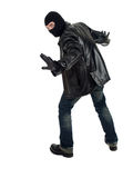 Young male thief in balaclava Stock Images