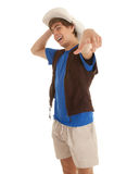 Young male tourist in bright hat pointing you Royalty Free Stock Images