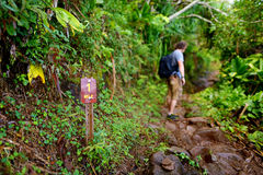 Young male tourist hiking on the famous Kalalau trail along Na Pali coast of the island of Kauai. In the state of Hawaii Stock Photography