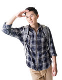 Young male traveler find something Royalty Free Stock Image