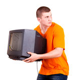 Young male with TV set Royalty Free Stock Photos