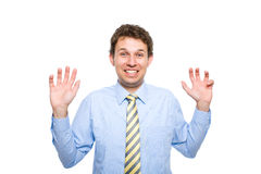 Young male very surprised, making funny face Royalty Free Stock Photos