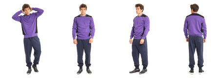 Young male with in the violet sportswear isolated Stock Images