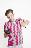 Young male wants to brake his hard disk Royalty Free Stock Image