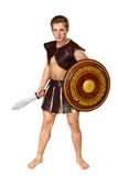 Young male warrior with a shield Royalty Free Stock Images