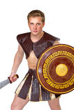 Young male warrior with a shield Royalty Free Stock Photography