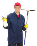Young male window cleaner. With tools. Isolated on white Royalty Free Stock Photo