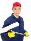 Young male window cleaner Royalty Free Stock Image