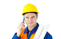 Young male worker wearing helmet Stock Photography