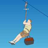Young male zip line rider Stock Images