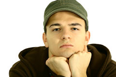 Young man #1. A young man in front of white bachground Royalty Free Stock Photos