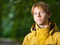 Young man. In a yellow sport jacket - shallow DOF Royalty Free Stock Photos
